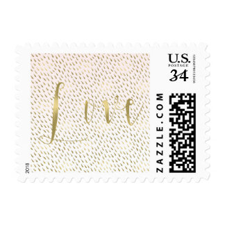 Gold Blush Pink White Ombre Abstract Love Wedding Postage