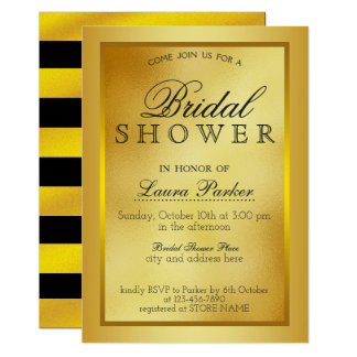 Gold Boarder Metal Bridal Shower Glitter Classic Card