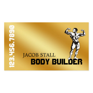 Gold Body Builder Personal Trainer Fitness Business Card