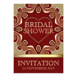 "Gold Bohemian Earth Love Bridal Shower Invitations 5"" X 7"" Invitation Card"