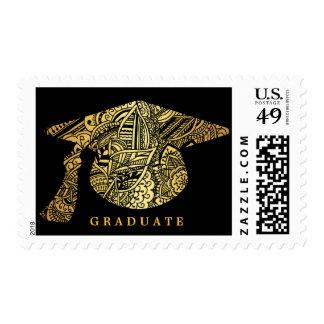 Gold Bohemian Pattern Graduation Hat Black Postage