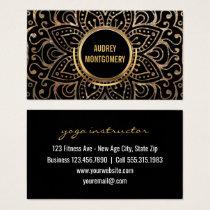 Gold Boho Yoga Instructor | Flower Mandala Pattern Business Card