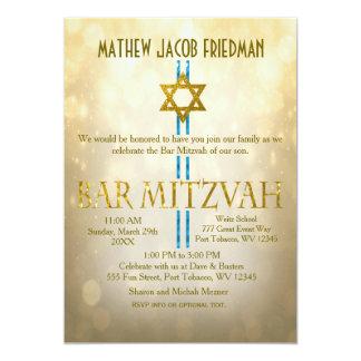 Gold Bokeh | Bar Mitzvah Card