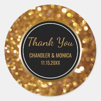 Gold Bokeh Black   Wedding Favor Thank You Classic Round Sticker