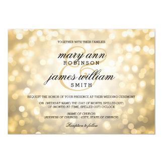 "Gold Bokeh Lights Elegant Wedding 5"" X 7"" Invitation Card"