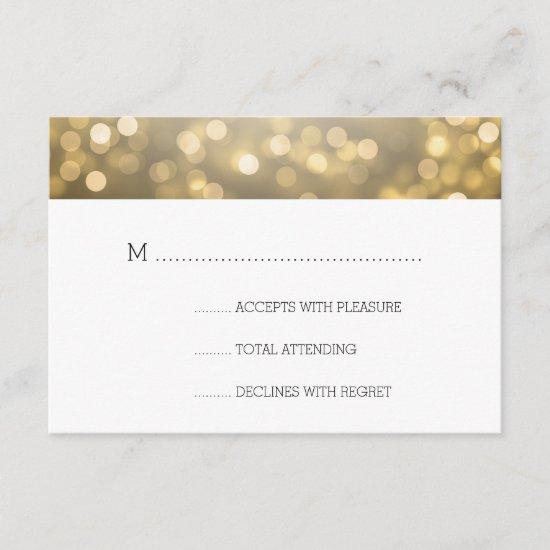 Gold Bokeh Lights Elegant Wedding RSVP