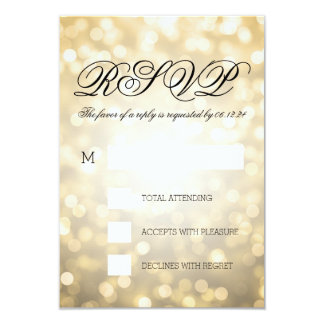 Gold Bokeh Lights Elegant Wedding RSVP 3.5x5 Paper Invitation Card