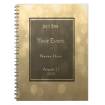 Gold Bokeh Lights Guest Book Notebook