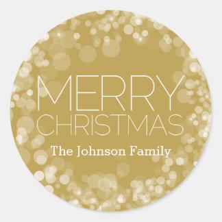 Gold Bokeh Modern Merry Christmas Classic Round Sticker