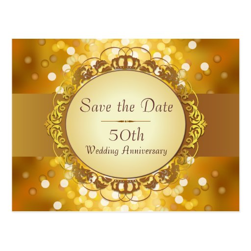 Gold Bokeh Save the Date 50th Anniversary Postcards