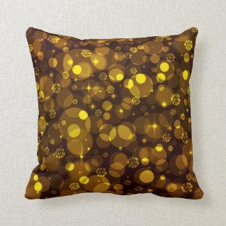 Gold Bokeh Throw Pillow
