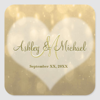 Gold Bokeh | Wedding Monogram Sticker