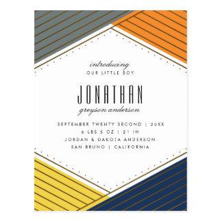 Gold & Bold Colors | Geometric Birth Announcement Postcard