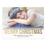 Gold Bold Merry Christmas Custom Photo Postcard