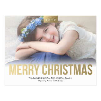 Gold Bold Merry Christmas Custom Photo Postcard