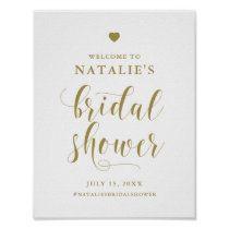 Gold Bold Script Bridal Shower Welcome Sign