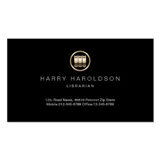 Gold Books Icon Librarian Business Card