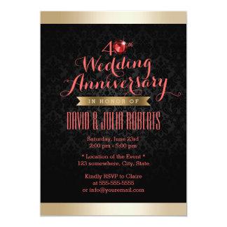 Gold Border Black Damask Ruby Wedding Anniversary Card