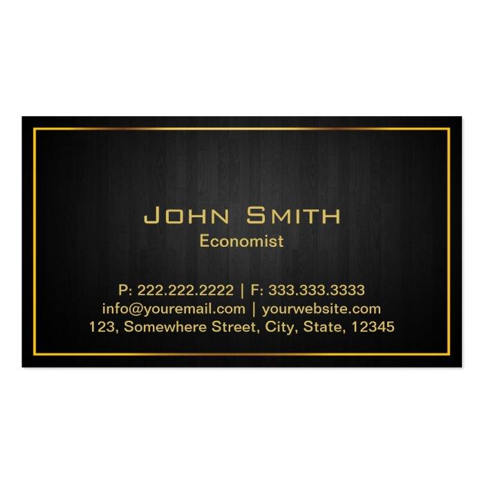 Gold Border Dark Wood Economist Business Card