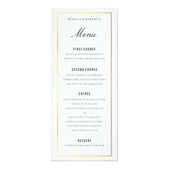 Wedding menu wedding menu card rustic wedding menus dinner menu gold border elegant wedding menu card zazzlecom junglespirit Images