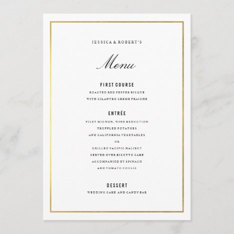Gold Border Elegant Wedding Menu Card