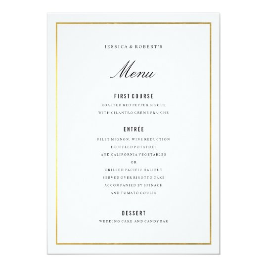 Gold Border Elegant Wedding Menu Card | Zazzle