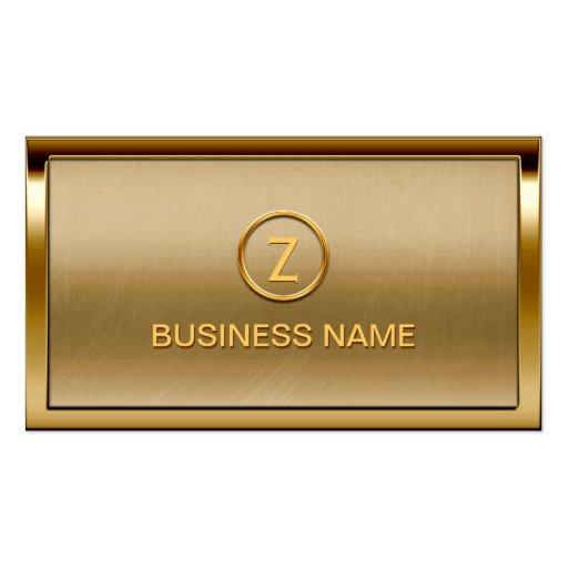 Gold Border Monogram Bronze Business Card