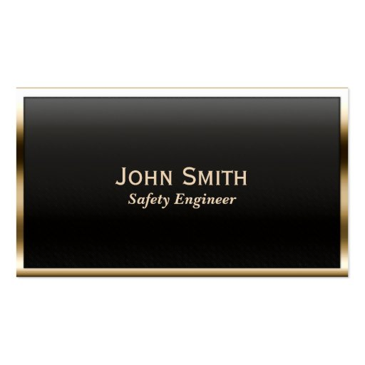 Gold Border Safety Engineer Business Card