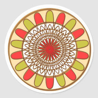Gold Border SUNFLOWER Chakra Mandala Classic Round Sticker