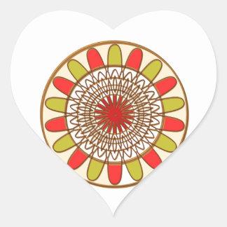 Gold Border SUNFLOWER Chakra Mandala Heart Sticker