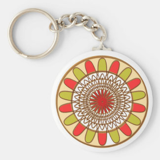 Gold Border SUNFLOWER Chakra Mandala Key Chains