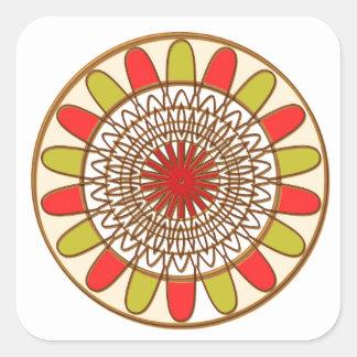 Gold Border SUNFLOWER Chakra Mandala Square Sticker