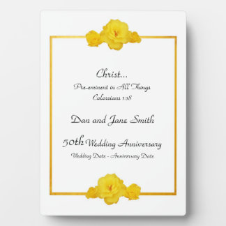 Gold Border Yellow Roses 50th Anniversary Plaque