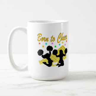 GOLD BORN TO CHEER MEGAPHONE CHEERLEADER COFFEE MUG