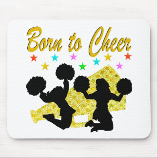 GOLD BORN TO CHEER MEGAPHONE CHEERLEADER MOUSE PAD