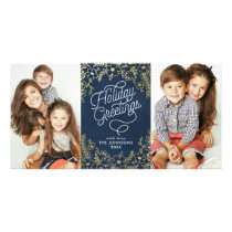 Gold Botanicals Holiday Greetings 2 Photo Card