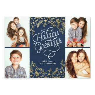 Gold Botanicals Holiday Greetings 4-Photo Card