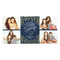 Gold Botanicals Holiday Greetings 4 Photo Card