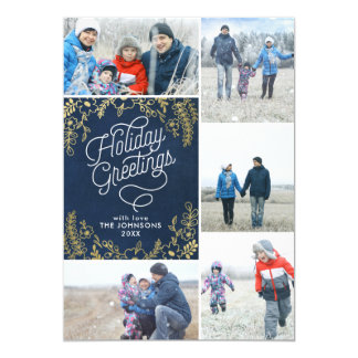 Gold Botanicals Holiday Greetings 5 Photo Card