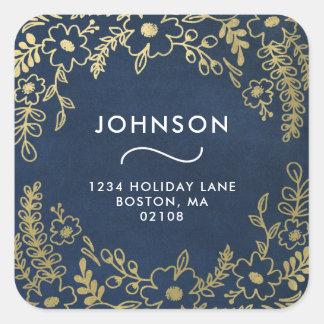 Gold Botanicals Holiday Greetings Address Sticker