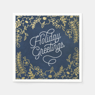 Gold Botanicals Holiday Greetings Paper Napkin