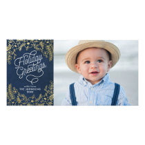 Gold Botanicals Holiday Greetings Photo Card