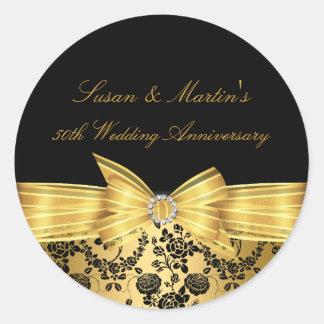 Gold Bow 50th Wedding Anniversary Sticker