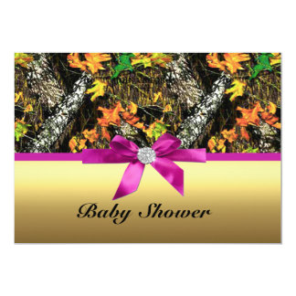 Gold Bow Camo Baby Shower Party Invitation