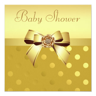 "Gold Bow, Diamond Flower & Polka Dots Baby Shower 5.25"" Square Invitation Card"