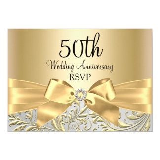 Gold Bow & Floral Swirl 50th Anniversary RSVP Card