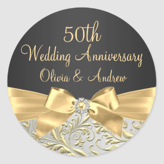 Gold Bow & Floral Swirl 50th Anniversary Sticker