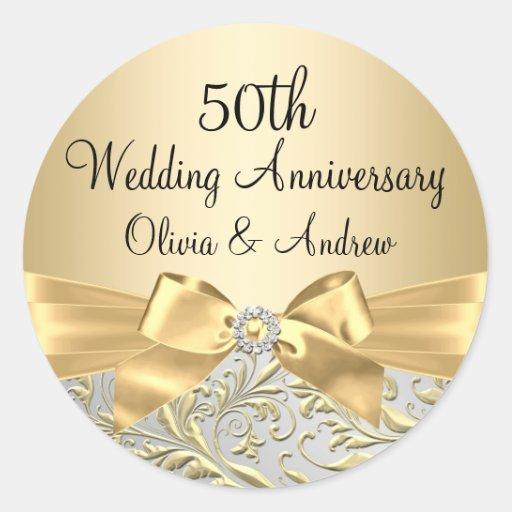 Gold Bow Floral Swirl 50th Anniversary Sticker
