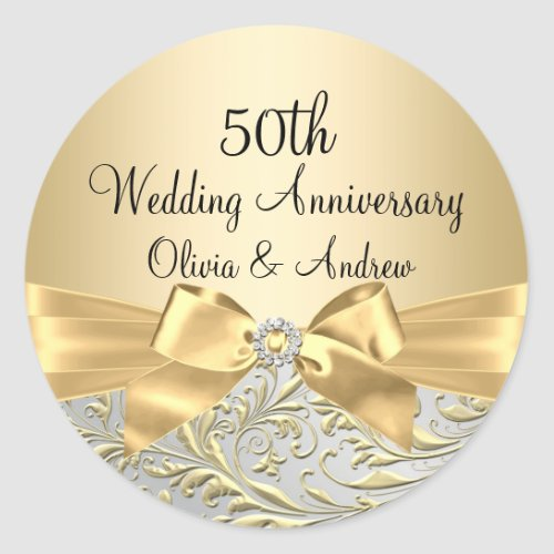 Gold Bow Floral Swirl 50th Anniversary Sticker