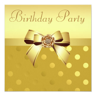 "Gold Bow, Flower & Polka Dots Birthday Party 5.25"" Square Invitation Card"